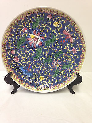 """Fine Old Antique Chinese Enamel Porcelain Beautiful Plate 10 1/8"""""""