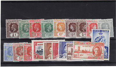 Leeward Islands - George V - Qe 19 Mounted Mint Stamps 1/2 May Be Heavily Mounte