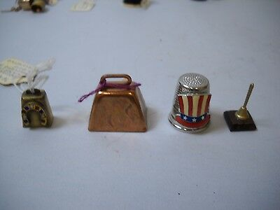 LOT OF 4 Mini BELLS 1 Thimble 1 COPPER COWBELL 1 Bell on STAND 1 HORSE SHOE Bell