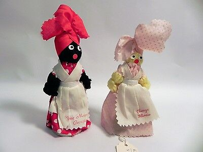 "LOT OF 2 VINTAGE ""MAMMY"" DOLLS SILVER BELLS Cloth Doll Yarn BLACK AMERICANA ABA"