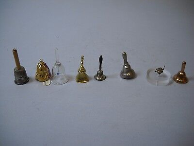 LOT OF 8 Mini BELLS Various Sizes MATERIALS and STYLES Nothing over 1 INCH