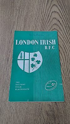London Irish v Rosslyn Park 1958 Rugby Union Programme