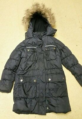 Next girls winter coat 7-8yrs blue parka style