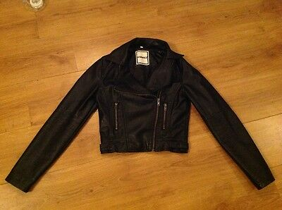 Girl's leather look biker jacket - 10-11 yrs