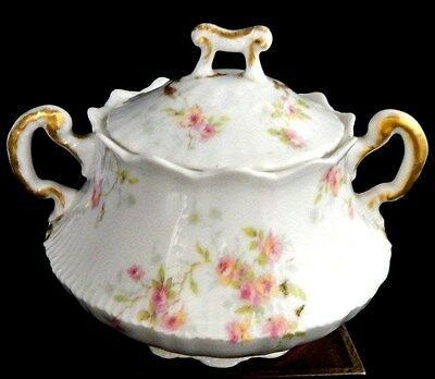 Haviland Limoges Sugar Bowl with Lid Pink and Yellow Roses