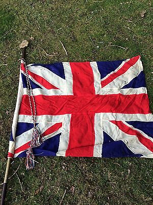 Girl Guides Flag Mast Pole With Union Jack And Brass Emblem Plaque.