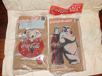 2 Packages Coca Cola COKE 20 Paper Lunch Bags Sacks 1998 2001