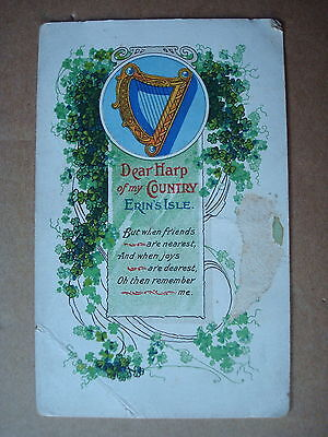 *** Vintage Postcard -  Harp Of My Country, Erin's Isle   ***