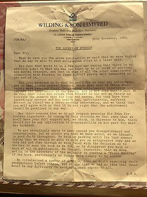 Letter Re Sir JOHN HUNT and his Ascent of EVEREST from Wilding & Son Ltd