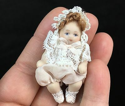 Vintage Maree Massey Miniature Dollhouse Porcelain Baby Doll Silk Lace ADORABLE!