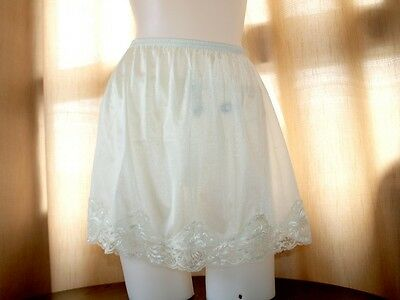 Nwt Classic Sheer Nylon Half Slip Skirt,lace Detail Cream Color,women Underwear