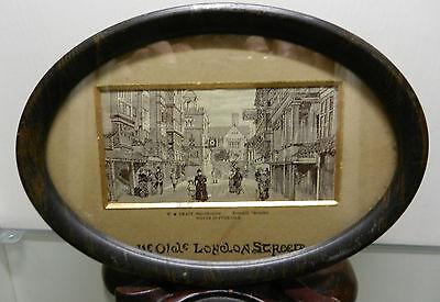 1880s Silk Woven Picture Stevengraph by W H Grant The Old London Street In Frame