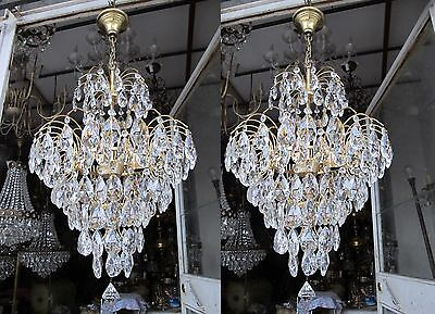 "Pair Of Vnt French HUGE Waterfall Real Swarovski Crystal Chandelier 1960's 17""Dm"