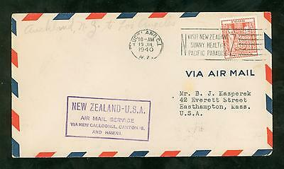 First Flight Auckland NZ to Los Angeles CA 1940 with 4/ stamp