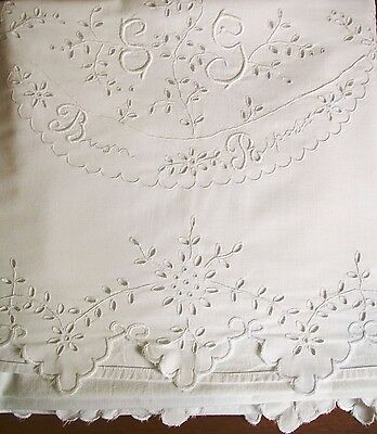 Antique Italian Sheet Embroidered Cutwork White Buon Riposo Cotton Bedsheet
