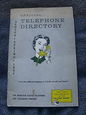 Vintage 1957 Official Telephone Directory Denver, Co - Mountain States Telephone
