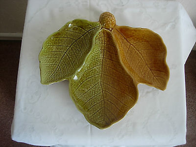 ROYAL WINTON  - LEAF DESIGN - 3 SECTIONED DISH - GREEN/BROWN c1950s
