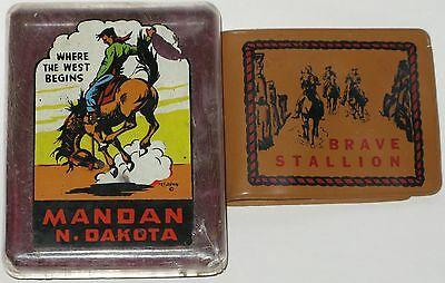 Vtg Salient Wallet Case Brave Stallion N Dakota Child Travel Souvenir USA Cowboy