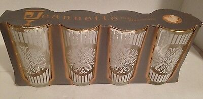 Vintage Set Of 4 1950's Jeanette Glass New In Package White Floral/Gold Glasses