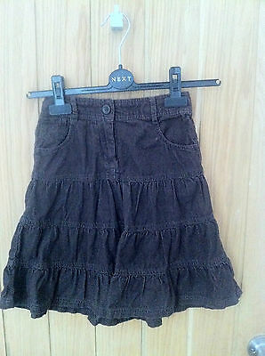 Next Brown Fine Cord Tiered Skirt with pockets Age 7 Years  Height 122 cms