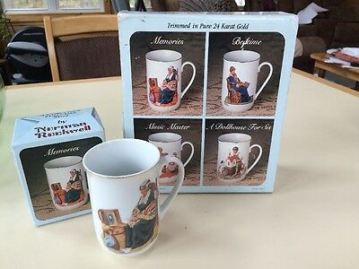 Norman Rockwell Collector's Gold Trim Coffee/Tee Cups/Mugs Set of 4