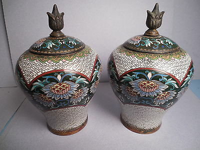 Pair Of Matching Chinese Cloisonne Lidded Jars