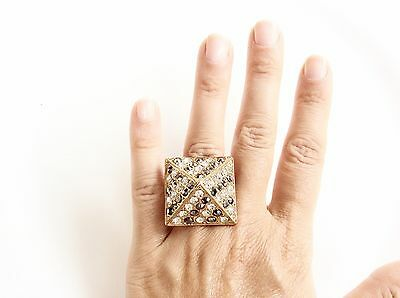 Pyramid Rhinestones Ring Adjustable Stretchy Statement Ring Gold Color Sparkle