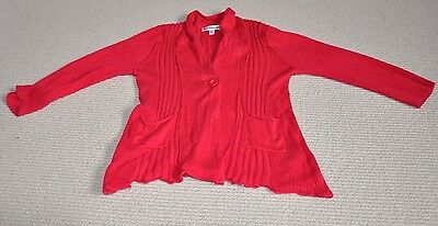 Girl's Cardigan, 2-3Yrs, Red, Autograph At M&S, Long Sleeve, 2 Pockets, 1 Button