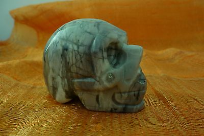 """SKULL """"PICASSO JASPER"""" 50mm GEMSTONE CARVING Free Combined Postage"""