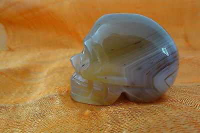 SKULL Banded Agate Gemstone Carving 50mm  FREE COMBINE