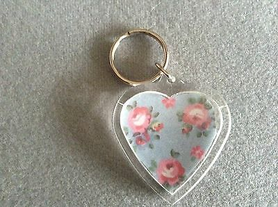 Cath Kidston Hampton rose blue fabric in heart shaped acrylic keyring/bag charm