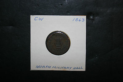 Antique 1863 US Civil War Token Coin CWT North Military Hall F & L Ladner