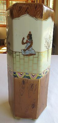 Egyptian Revival Period Hand Painted Nippon Hexagonal Porcelain Vase - Tall!