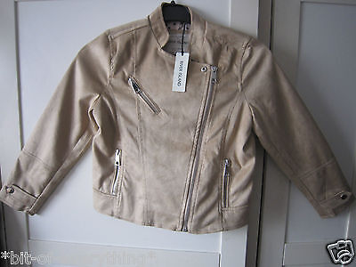 River Island Beige Faux Suede Biker Jacket Size 8Yrs**new Free P&p**