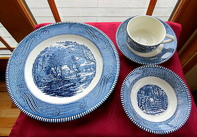 4 pieces Royal China Currier & Ives - Dinner, Cup/Saucer & Berry Bowl - Exc Cond