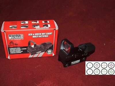 New Swiss Arms Red and Green Dot 4 Reticle Reflex Sight For AEG Airsoft Black