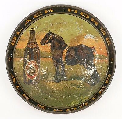 Rare Original 1930s Canadian Quebec Black Horse Brewery Tin Litho Beer Tray Sign