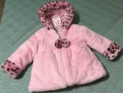 Pistachio Baby Girl Pink Animal Print Faux Fur Hooded Jacket Size 18 Months EUC
