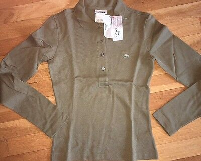 NWT Lacoste Womens Ladies Sz 2 or 34 XS Olive Green L/S Golf Polo Shirt