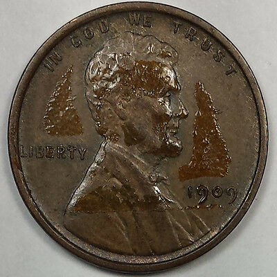 1909 Vdb Lincoln Wheat Cent Penny - Old Us Copper Coin