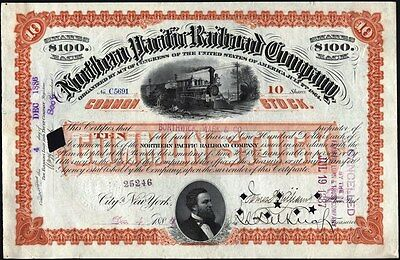 10 Shares Northern Pacific Railroad Company, 1886, Red         Stock Certificate