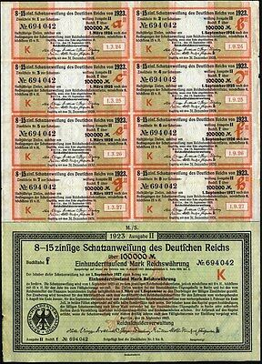 100,000 Marks, German Inflation Bond, 1923 With 8 Coupons                  Bond