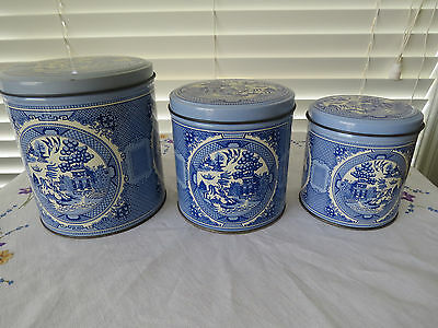 Set Of 3 Willow Graduated Tin Canisters **blue Willow** Pattern