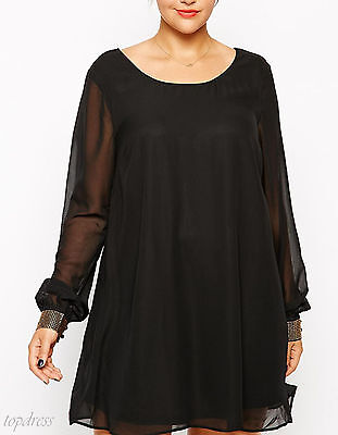 New ladies black chiffon evening party day long sleeved mini dress size 14
