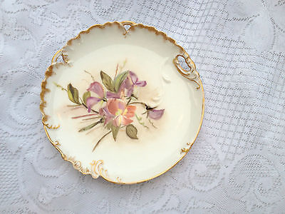 H & CL France Signed EMP Decorative Plate Floral with Gold Rim (140)