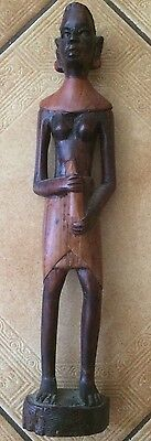Handmade African Women Statue. Wooden Hand Carved Holding Jug