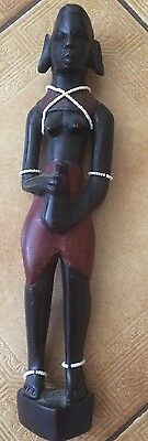 Handmade And Carved African Women Statue Holding Jug