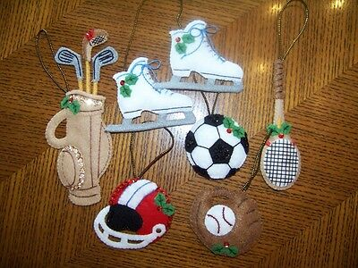 Finished BUCILLA felt ornaments SPORTS SANTA golf football baseball tennis NEW