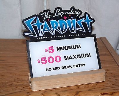 Stardust Casino Table Stakes Sign Black Jack 5.00 to 500.00 with stand