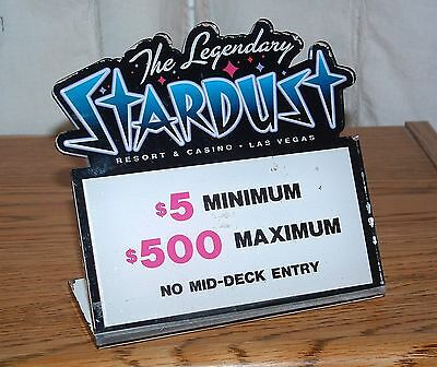 Stardust Casino Table Stakes Sign Black Jack 5.00 to 500.00 #2